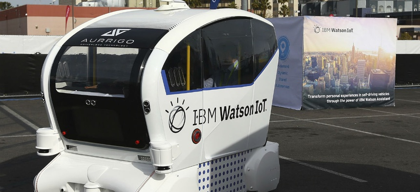 The IBM Watson IoT autonomous pod with Aurrigo Tech is voice-controlled on a closed course at CES International Jan. 8 in Las Vegas.