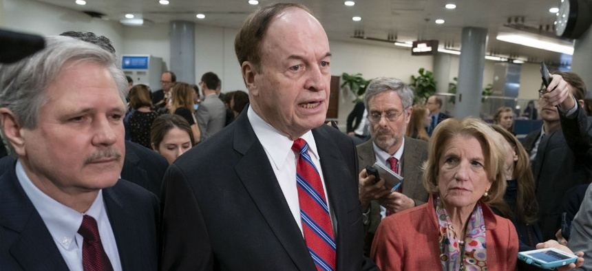 Sen. Richard Shelby speaks with reporters after a briefing with officials about the US-Mexico border Feb. 6.