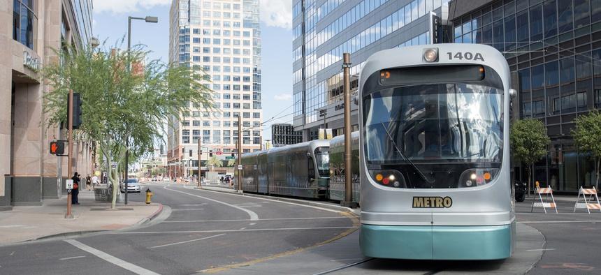 Phoenix Metro Light Rail train goes through downtown.
