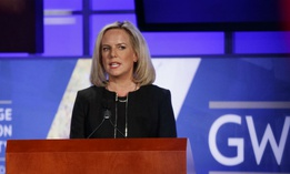 Homeland Security Secretary Kirstjen Nielsen speaks at George Washington University's Jack Morton Auditorium in Washington March 18.