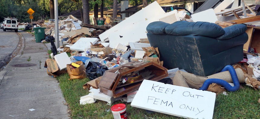 In 2017, Houston homeowners removed items destroyed by Hurricane Harvey flooding.