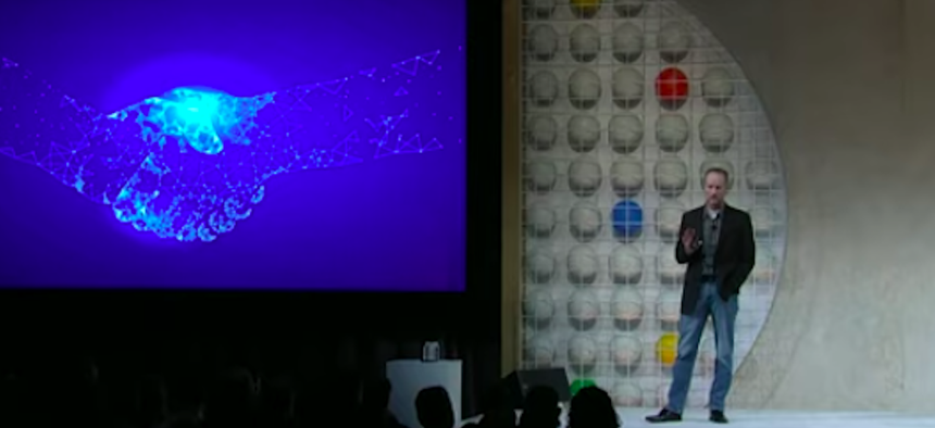 GSA CIO David Shive addresses the crowd at the Customer Innovation Series at Google Cloud Next '19.