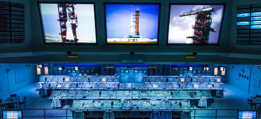 The Apollo mission launch control center.