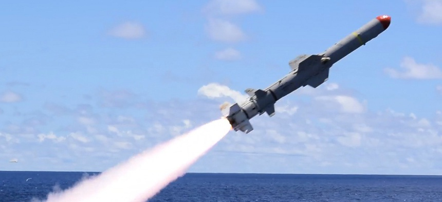 The USS Antietam launches a harpoon surface-to-surface missile during the Pacific Vanguard  exercise.