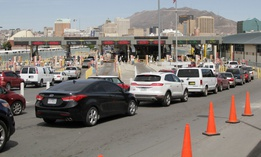 Vehicles from Mexico and the U.S. approach a border crossing in El Paso, Texas in April.