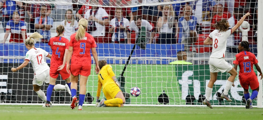 A goal from the England team in a semi-final against the U.S. was ruled offside after a VAR review.
