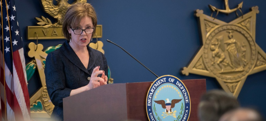 Defense Department acting Chief Management Officer Lisa Hershman delivers remarks at the inaugural DOD Gears of Government Awards, at the Pentagon in May.
