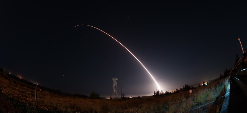 An unarmed Minuteman III intercontinental ballistic missile launches during an operational test  in 2017.