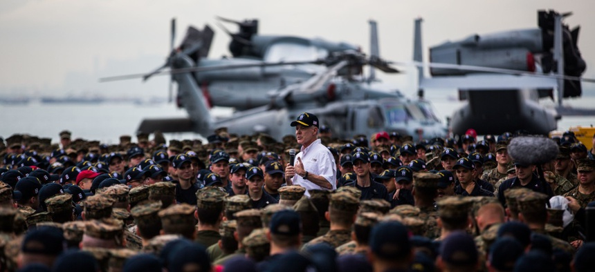 Secretary of the Navy Ray Mabus addresses Marines and sailors with the Makin Island Amphibious Ready Group/11th Marine Expeditionary Unit during his visit of Changi Naval Base, Singapore, Nov. 22, 2016.