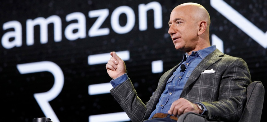 Amazon CEO Jeff Bezos speaks at the the Amazon re:MARS convention, Thursday, June 6, 2019, in Las Vegas.