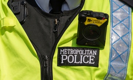 A close up of a body camera worn by a London Metropolitan police officer.