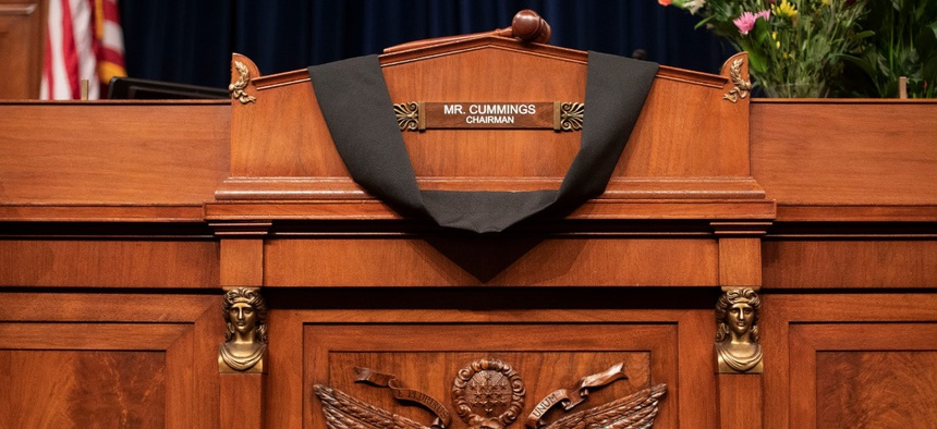 The House Oversight Committee Chairman's chair is draped in black cloth honoring Rep. Elijah Cummings, D-Md., on Capitol Hill in Washington Oct. 17, 2019.