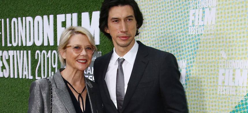 Actors Annette Bening, left, and Adam Driver pose for photographers upon arrival at the premiere of the film 'The Report' which is screened as part of the London Film Festival, in central London, Oct. 5, 2019.