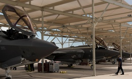 A maintainer inspects F-35 Lightning IIs before they launch from Luke Air Force Base, Arizona.
