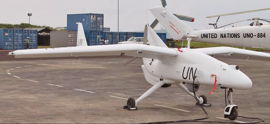 A drone that was a part of the United Nation's peacekeeping force in Goma, Congo in 2013.