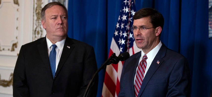 Secretary of State Mike Pompeo, left, and Secretary of Defense Mark Esper