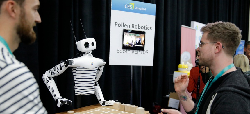 The Reachy robot appears on display at the Pollen Robotics booth during CES Unveiled before CES International Jan. 5 in Las Vegas.