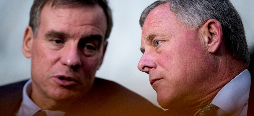 Senate Intelligence Vice Chairman Mark Warner , left, and Chairman Richard Burr