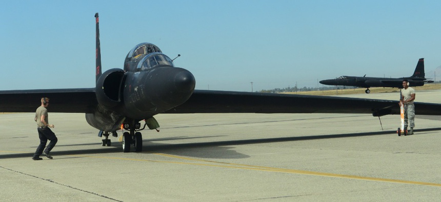 A U-2 Dragon Lady awaits for 9th Maintenance Group airmen to attach wheels to the aircraft Sept. 5 at Beale Air Force Base, California.