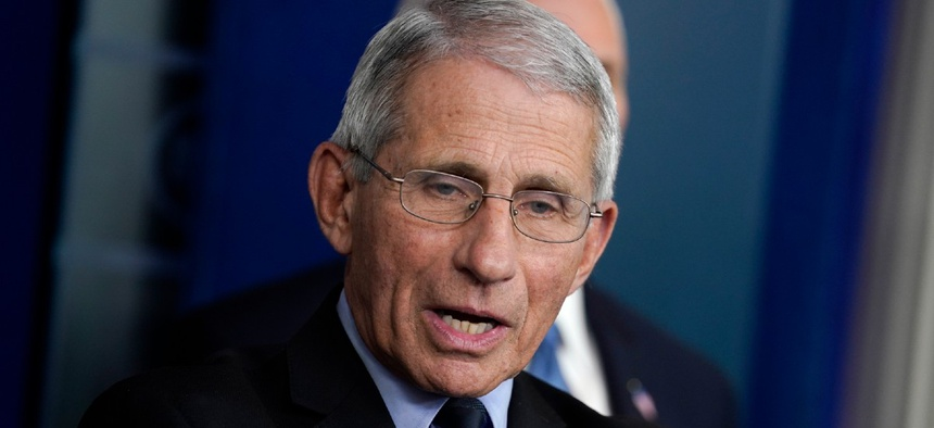 Dr. Anthony Fauci, director of the National Institute of Allergy and Infectious Diseases, speak during a press briefing with the coronavirus task force, at the White House March 17.