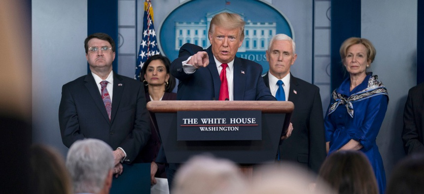 President Donald Trump speaks during press briefing with the coronavirus task force, at the White House March 18.