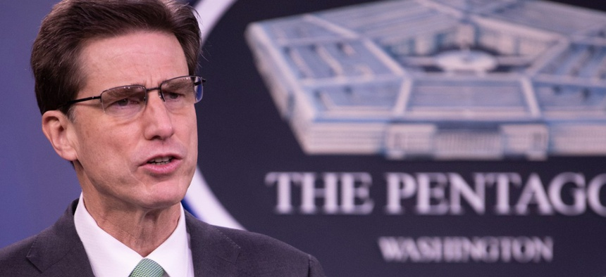 Department of Defense Chief Information Officer Dana Deasy holds a media briefing on the COVID-19 Telework Readiness Task Force on April 13.