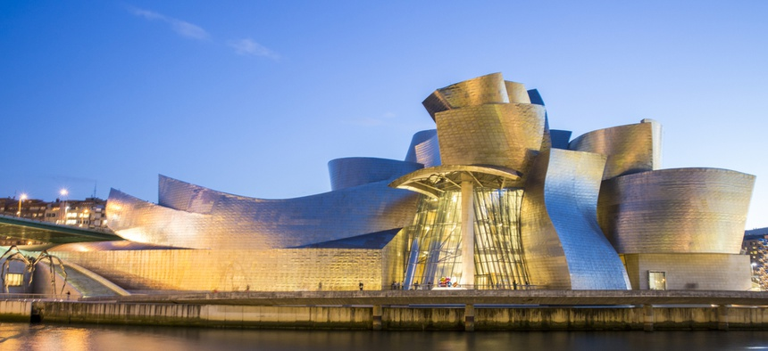 The Guggenheim Museum in Bilbao, Spain, designed by American architect Frank Gehr