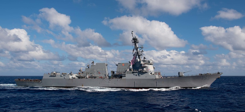The Arleigh Burke-class guided-missile destroyer USS Sterett (DDG 104) steams in the Pacific Ocean.