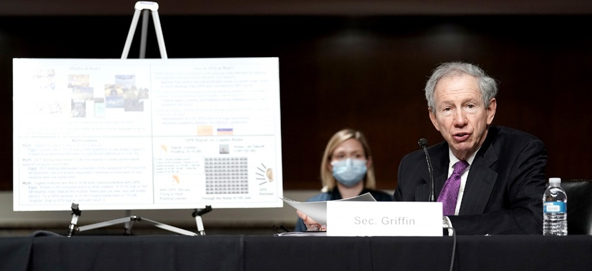 SCRATCH  Under Secretary of Defense for Research and Engineering Michael Griffin testifies before the Senate Armed Services Committee  May 6.