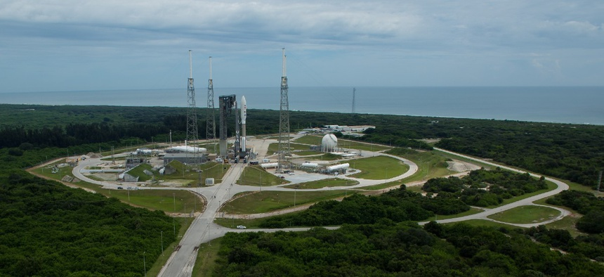 A United Launch Alliance Atlas V rocket with NASA's Mars 2020 Perseverance rover onboard is seen on the launch pad at Space Launch Complex 41 after being rolled out of the Vertical Integration Facility, Tuesday, July 28, 2020, at Cape Canaveral Air Force