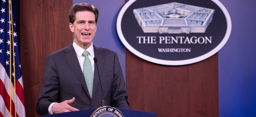 DOD CIO Dana Deasy speaks about the COVID-19 Telework Readiness Task Force on April 13 in the Pentagon Briefing Room.