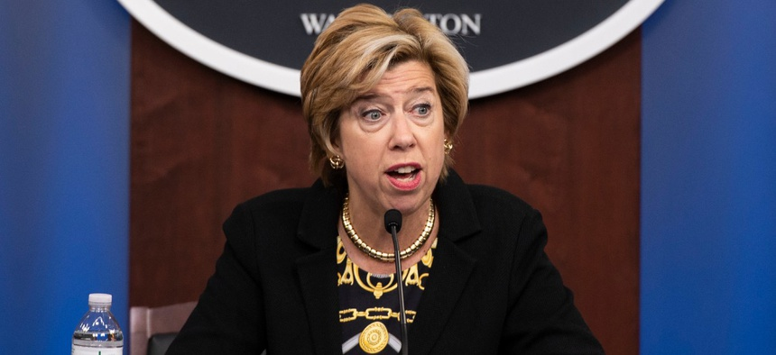 Undersecretary of Defense for Acquisition and Sustainment EllenLord holds a press briefing at the Pentagon Aug. 26.