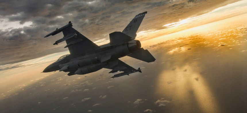 A F-16 flies during a mission at Eglin Air Force Base, Florida, Feb. 14, 2019.