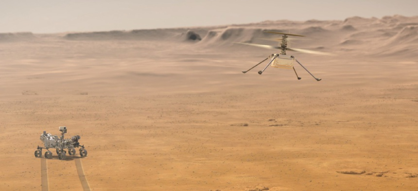 When NASA's Ingenuity Mars Helicopter attempts its first test flight on the Red Planet, the agency's Mars 2020 Perseverance rover will be close by, as seen in this artist's concept.