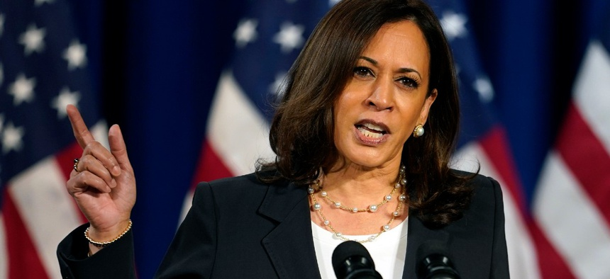 Democratic vice presidential candidate Sen. Kamala Harris, D-Calif., speaks in Washington Aug. 27.