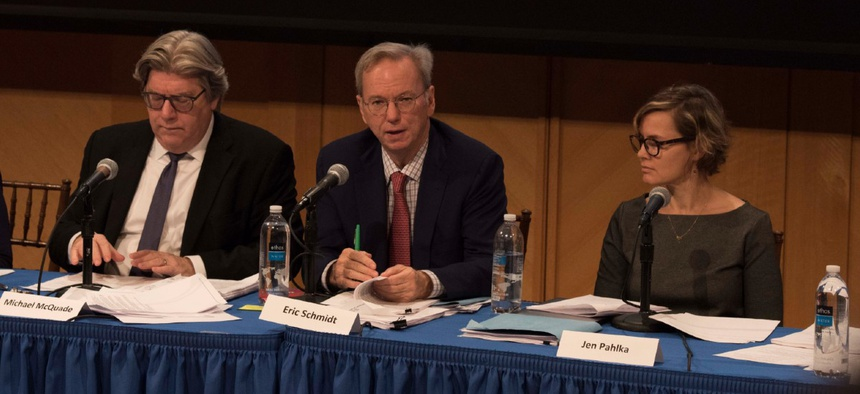 Former Google CEO Eric Schmidt and Code for America Founder Jennifer Pahlka at a  Defense Innovation Board meeting in Oct. 31, 2019.