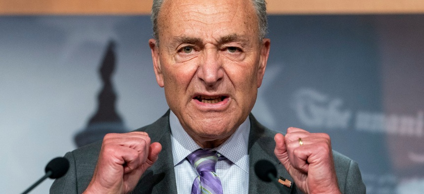 Senate Minority Leader Sen. Chuck Schumer speaks during a news conference on Sept. 9.