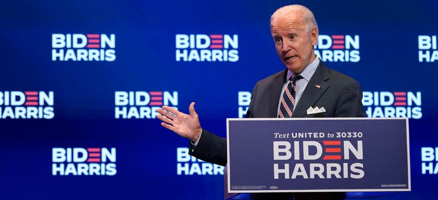 Democratic presidential candidate former Vice President Joe Biden speaks after participating in a coronavirus vaccine briefing with public health experts in Delaware September 16.