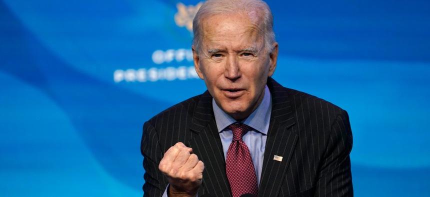 President-elect Joe Biden speaks during an event at The Queen theater in Wilmington, Del., Jan. 8.