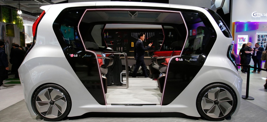 An LG connected self-driving electric car concept is on display in the LG booth at last year's CES tech show.