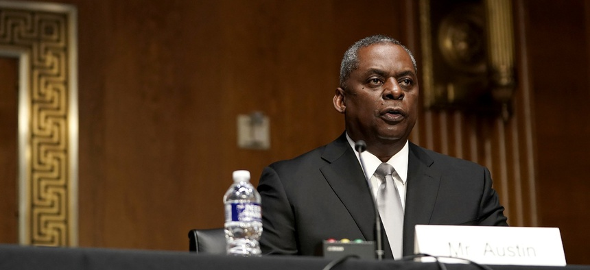 Secretary of Defense nominee Lloyd Austin, a recently retired Army general, speaks during his conformation hearing before the Senate Armed Services Committee on Capitol Hill Jan. 19.