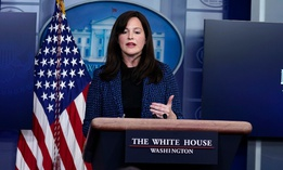 White House Deputy National Security Adviser Anne Neuberger discuss the SolarWinds hack at a press briefing Feb. 17.