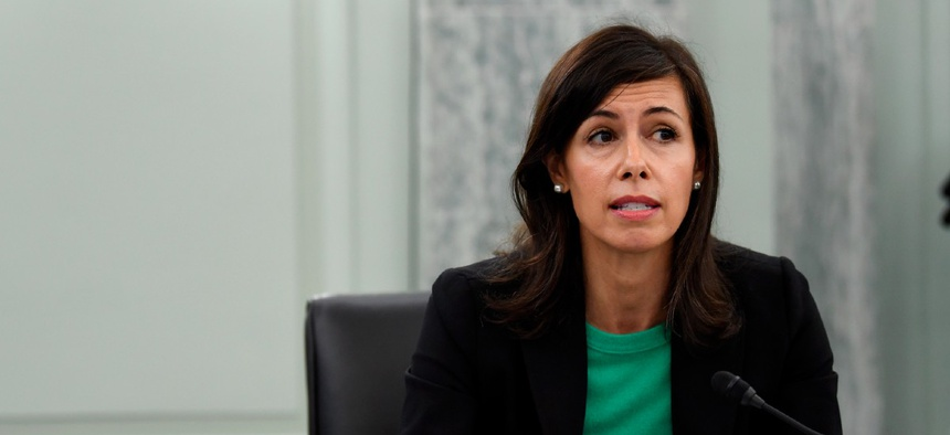 Jessica Rosenworcel answers a question during a Senate Commerce, Science, and Transportation committee hearing to examine the Federal Communications Commission on Capitol Hill June 24.