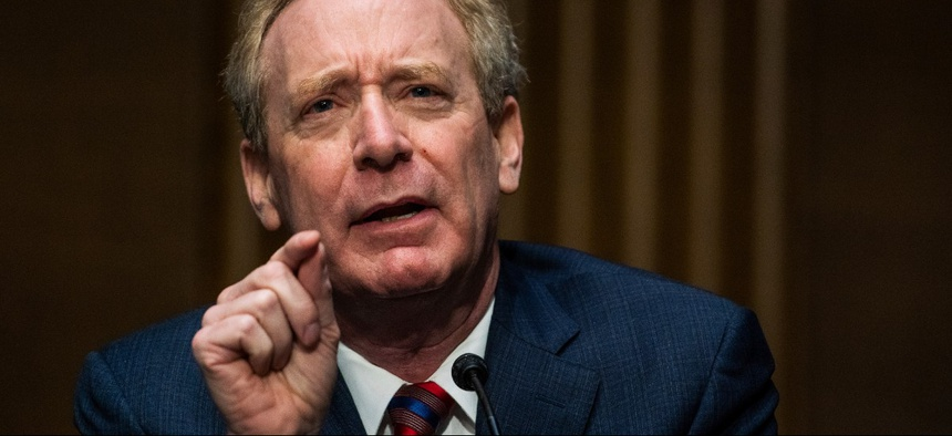 Microsoft President Brad Smith speaks during a Senate hearing on Capitol Hill on Feb. 23.