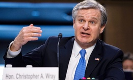 FBI Director Christopher Wray testifies before the Senate Judiciary Committee on Capitol Hill March 2.