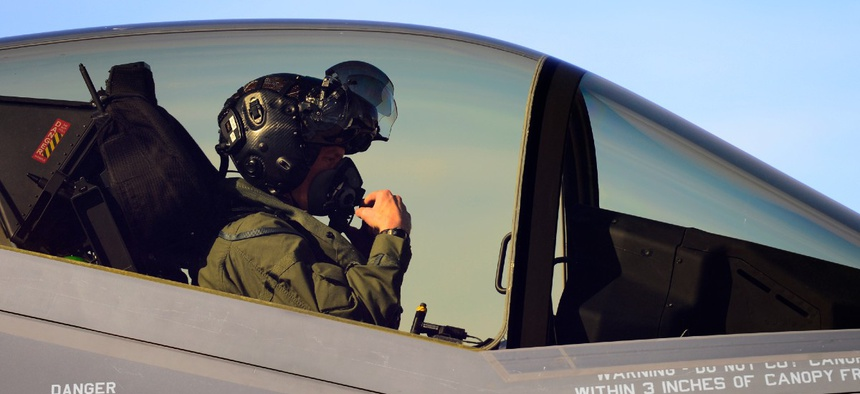 A test pilot goes through his pre-flight checks before flying an F-35A at Hill Air Force Base, Utah.