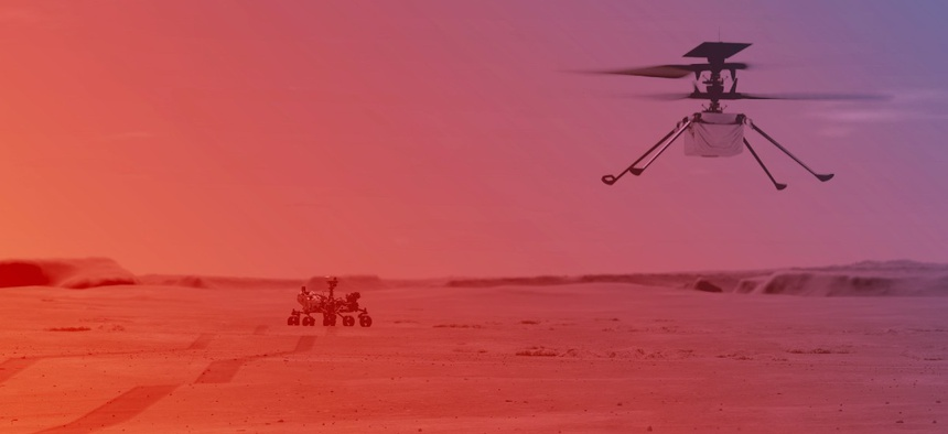 An illustration of NASA's Ingenuity Helicopter flying on Mars.