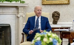 President Joe Biden speaks during a meeting with members of the Congressional Asian Pacific American Caucus Executive Committee at the White House in Washington, Thursday, April 15, 2021.
